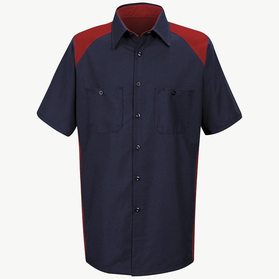 Red Kap Men's Medium-Long Red Poplin Polyester Blend Short Sleeve Uniform Work Shirt