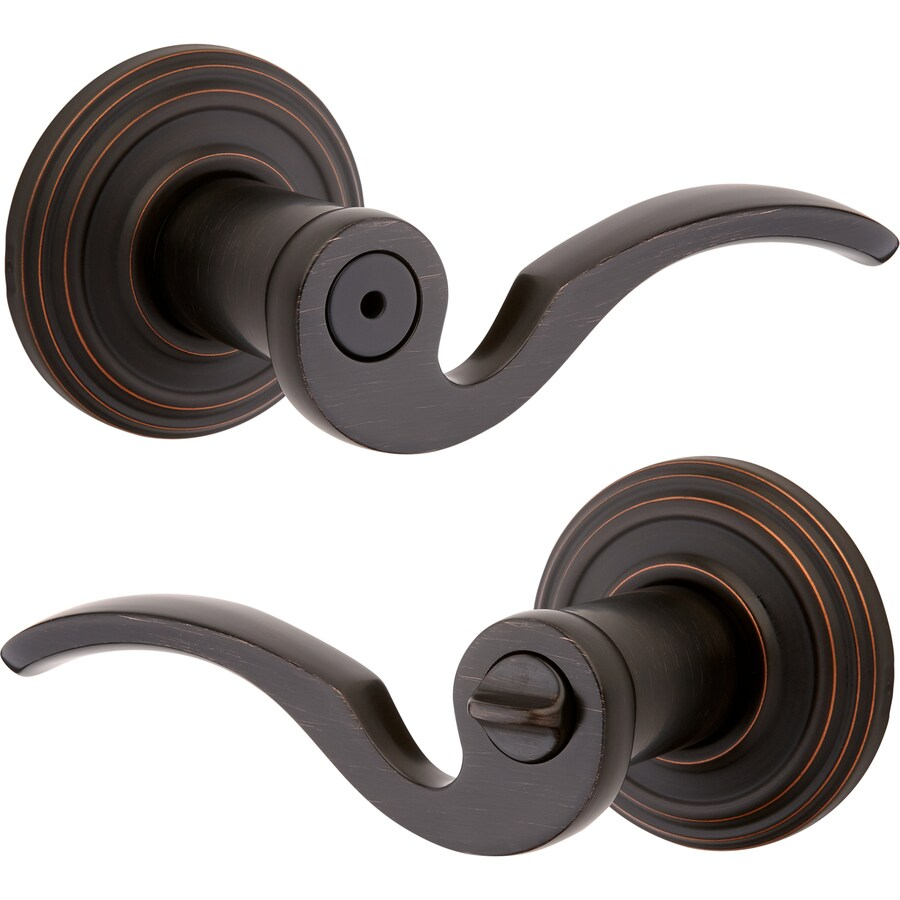 Kwikset Signature Brooklane Venetian Bronze Universal Turn Lock Privacy Door Lever