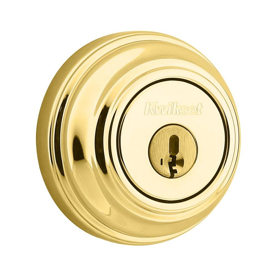 Kwikset 985 SmartKey Polished Brass Double-Cylinder Deadbolt