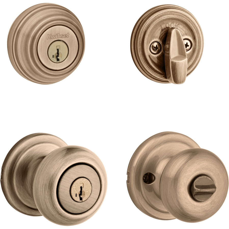 Shop kwikset juno smartkey antique brass mushroom keyed for Exterior door knobs