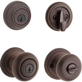 Kwikset Juno Venetian Bronze Smartkey Keyed Entry Door Knob Single Cylinder  Deadbolt Combo Pack