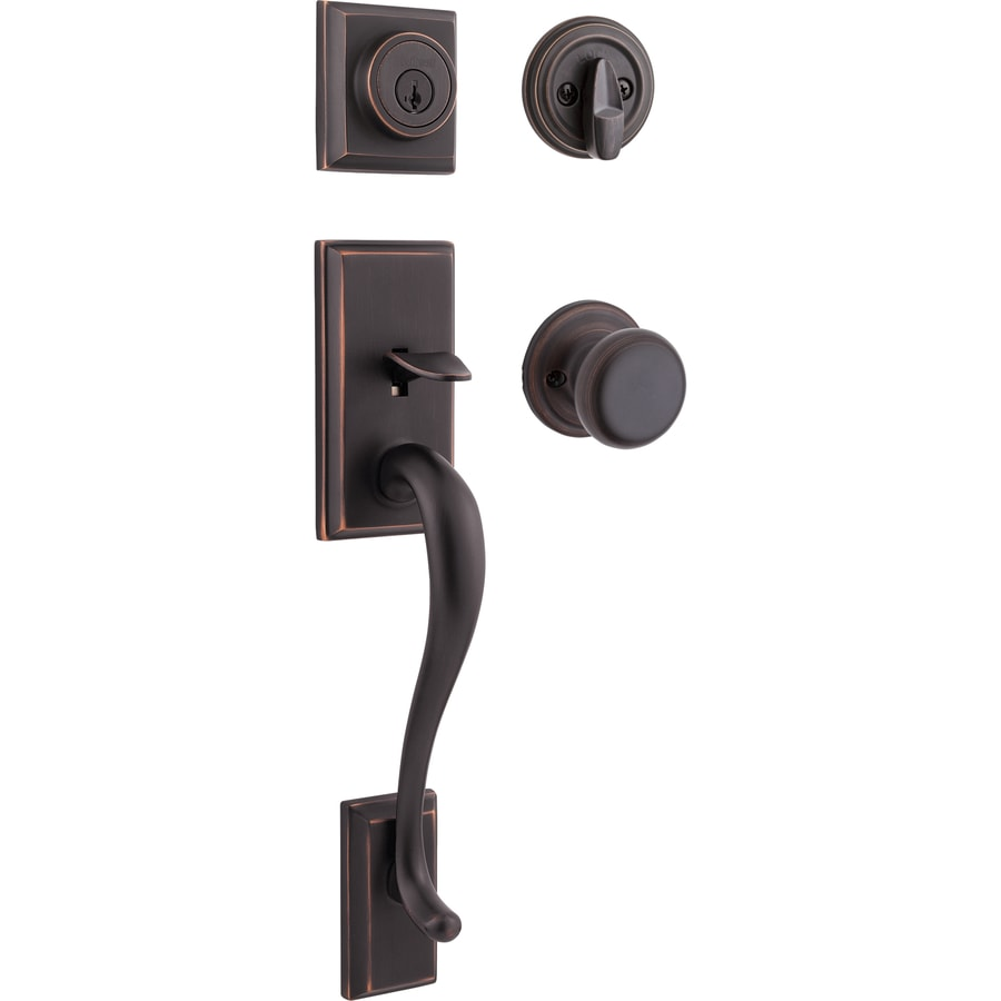 Kwikset Signature Hawthorne SmartKey Venetian Bronze Single-Lock Keyed Entry Door Handleset