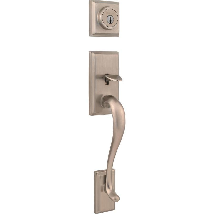 Kwikset Signature Hawthorne SmartKey Satin Nickel Single-Lock Keyed Entry Door Handleset
