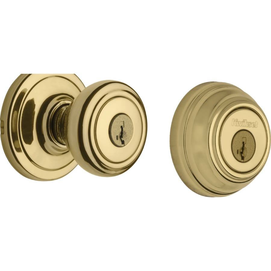 Kwikset Cameron Polished Brass Single-Cylinder Deadbolt and Keyed Entry Door Knob Combo Pack with Smartkey