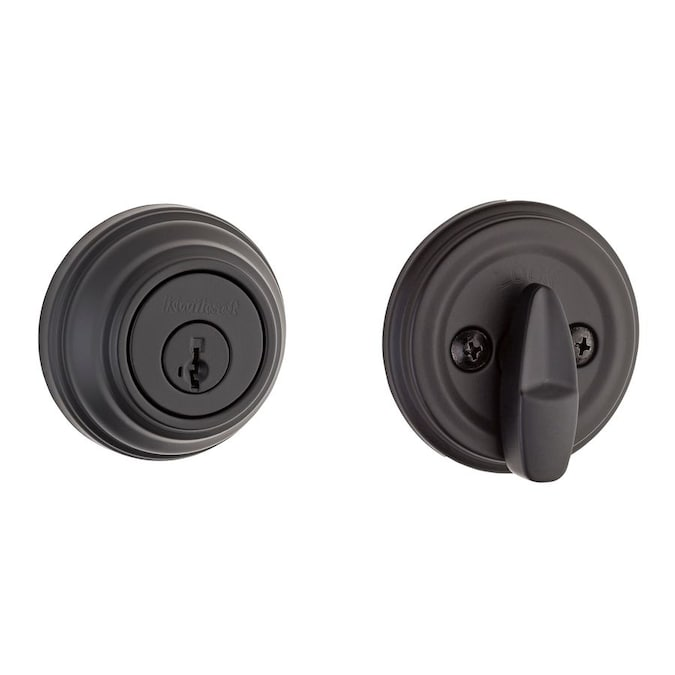 Kwikset Signature 980 Matte K Iron Black With Smartkey Single Cylinder Deadbolt In The Deadbolts Department At Lowes Com