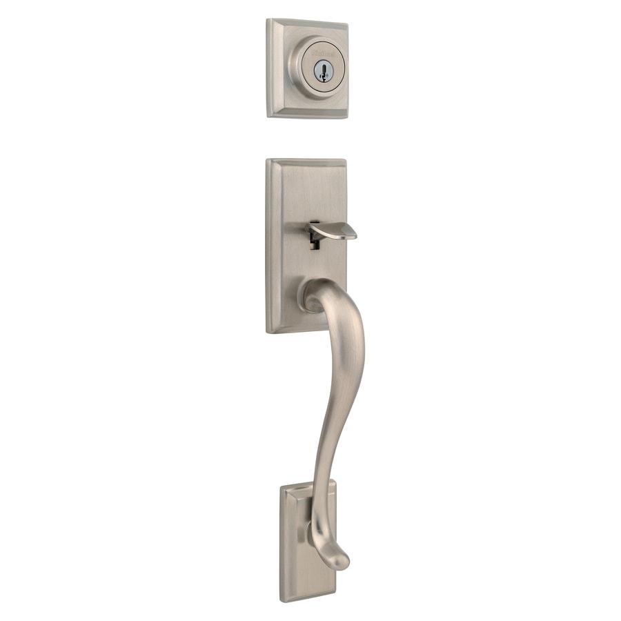 Shop Kwikset Hawthorne Adjustable Satin Nickel Entry Door Exterior Handle At