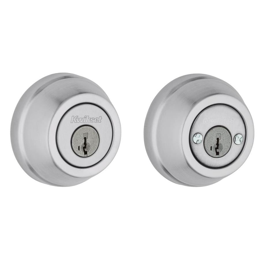 Kwikset Signature 599 Gatelatch SmartKey Satin Chrome Double-Cylinder Deadbolt