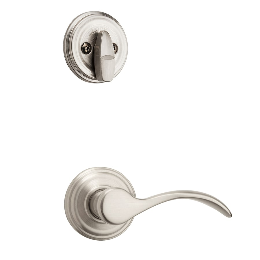 Kwikset Pembroke 1-3/4-in Satin Nickel Single Cylinder Lever Entry Door Interior Handle