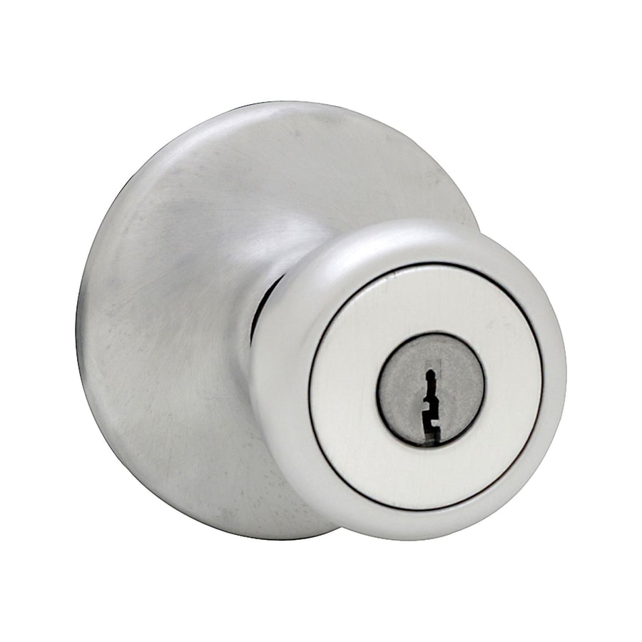 Kwikset Mobile Home Satin Chrome Tulip Keyed Entry Door Knob