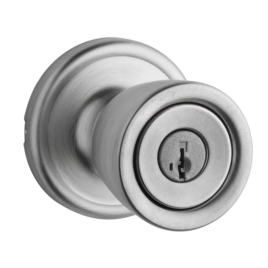 Kwikset Signature Abbey Smartkey Satin Chrome Round Keyed Entry Door Knob