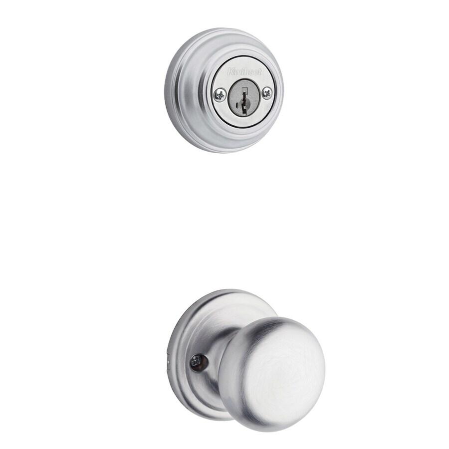 Kwikset Hancock 1-3/4-in Satin Chrome SmartKey Double Cylinder Knob Entry Door Interior Handle