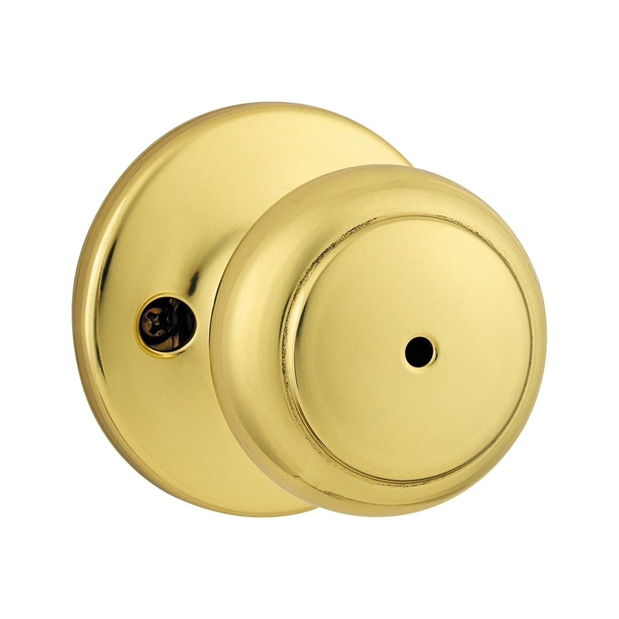 Kwikset Cove Polished Brass Round Turn-Lock Privacy Door Knob