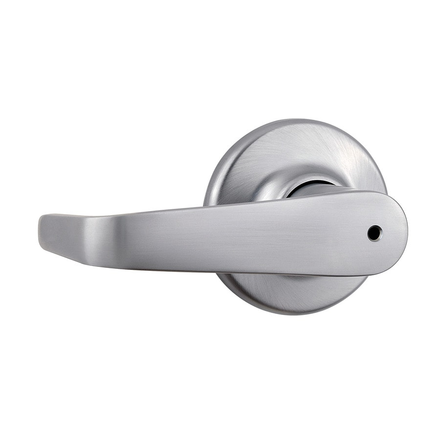 Kwikset Signature Kingston Satin Chrome Push-Button Lock Privacy Door Lever