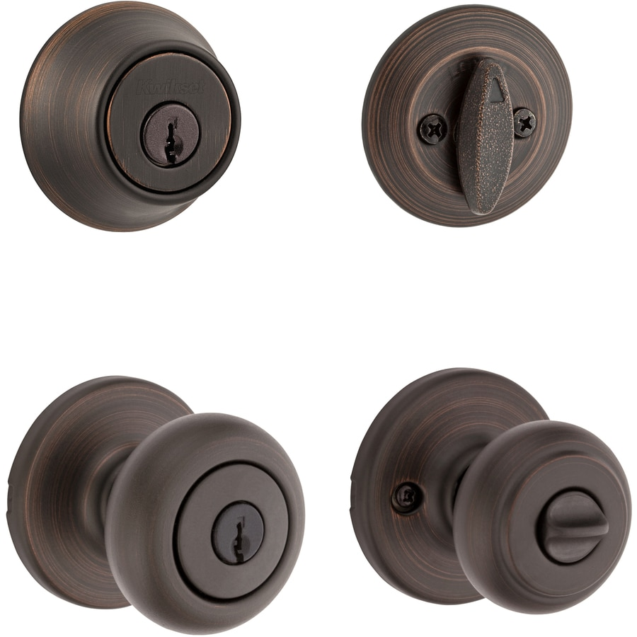 Kwikset Cove Satin Chrome Single-Cylinder Deadbolt and Keyed Entry Door Knob Combo Pack