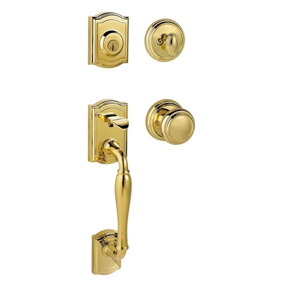 Kwikset Prestige Wesley SmartKey Lifetime Polished Brass Single-Lock Keyed Entry Door Handleset