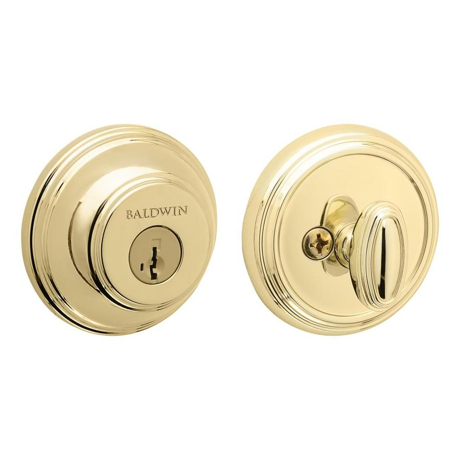 BALDWIN Prestige 380 SmartKey Polished Brass Single-Cylinder Deadbolt