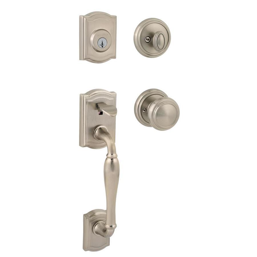 Kwikset Prestige Wesley SmartKey Satin Nickel Single-Lock Keyed Entry Door Handleset
