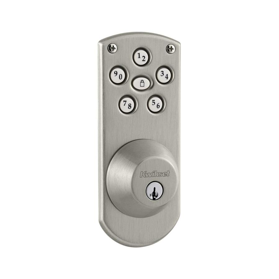 Kwikset Powerbolt Satin Nickel Single-Cylinder Motorized Electronic Entry Door Deadbolt with Keypad