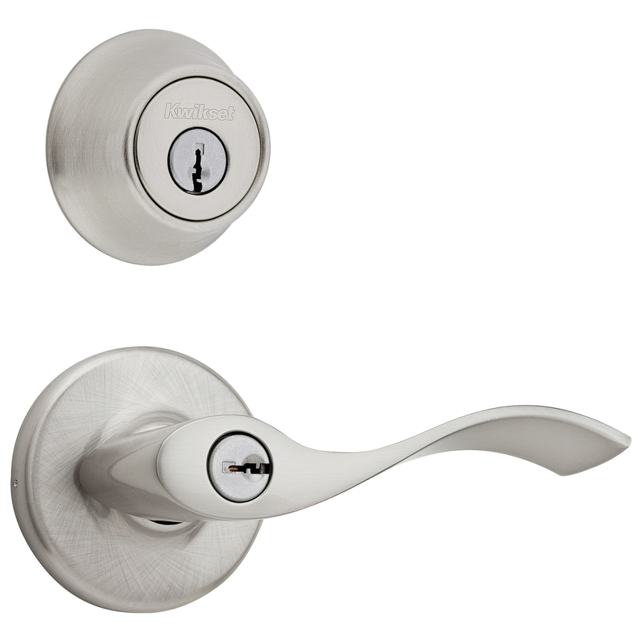 Shop kwikset balboa satin nickel single cylinder deadbolt for Exterior door knobs