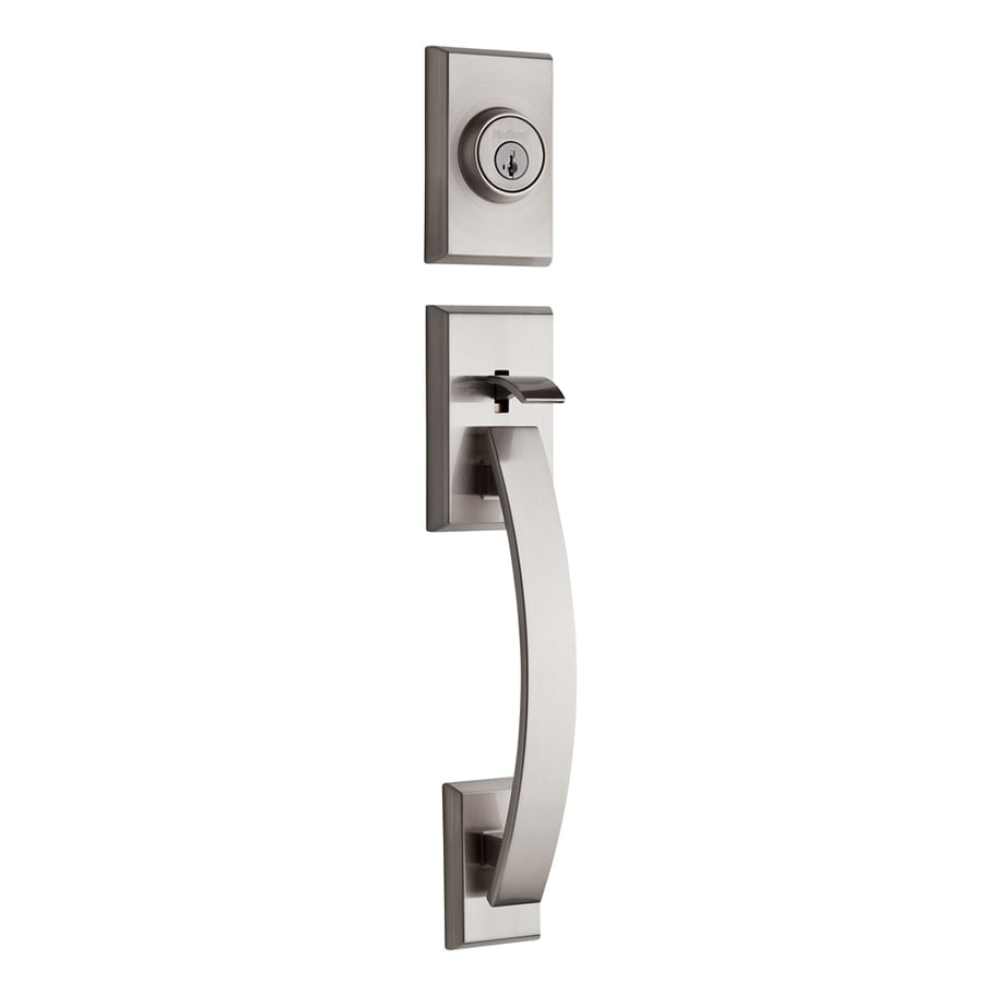 Shop Kwikset Tavaris Adjustable Satin Nickel Entry Door