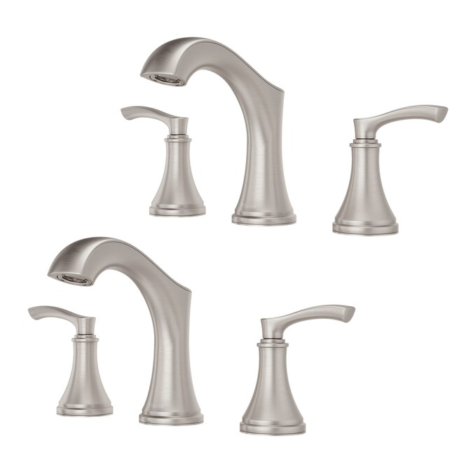 Pfister Auden Spot Defense Brushed Nickel 2 Handle 8 In Widespread Watersense Bathroom Sink Faucet With Drain In The Bathroom Sink Faucets Department At Lowes Com