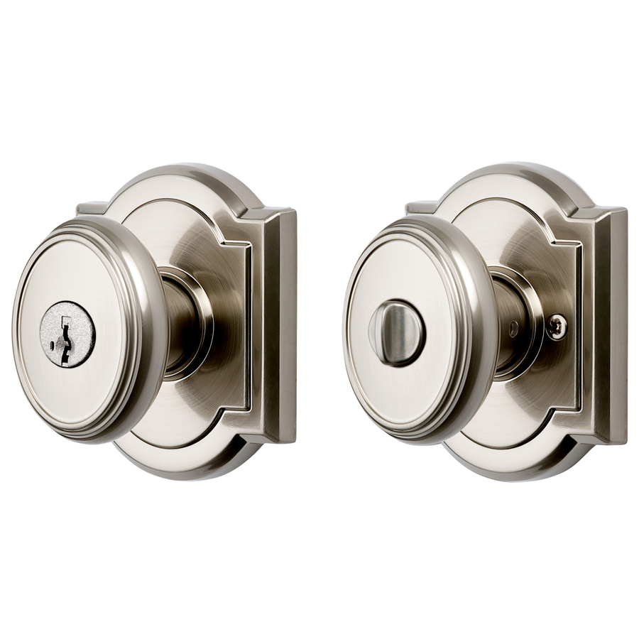 BALDWIN Carnaby Satin Nickel Keyed Entry Door Knob with Smartkey