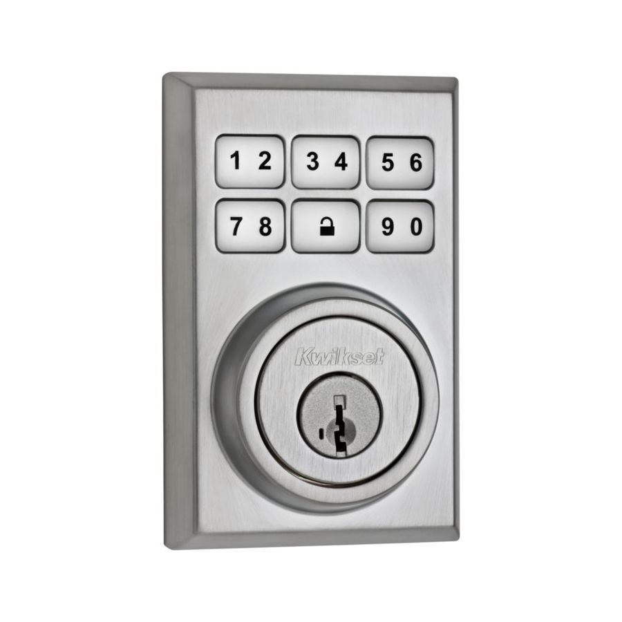 Kwikset SmartCode SmartKey Satin Chrome Single-Cylinder Motorized Electronic Entry Door Deadbolt with Keypad