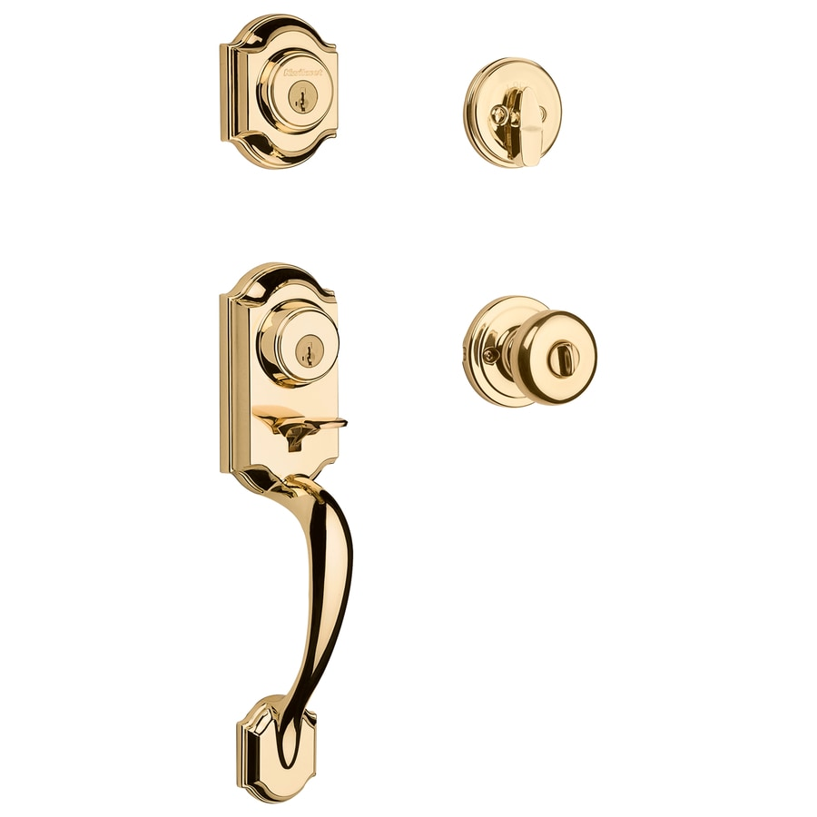 Kwikset Signature Montara Smartkey Polished Brass Single-Lock Keyed Entry Door Handleset