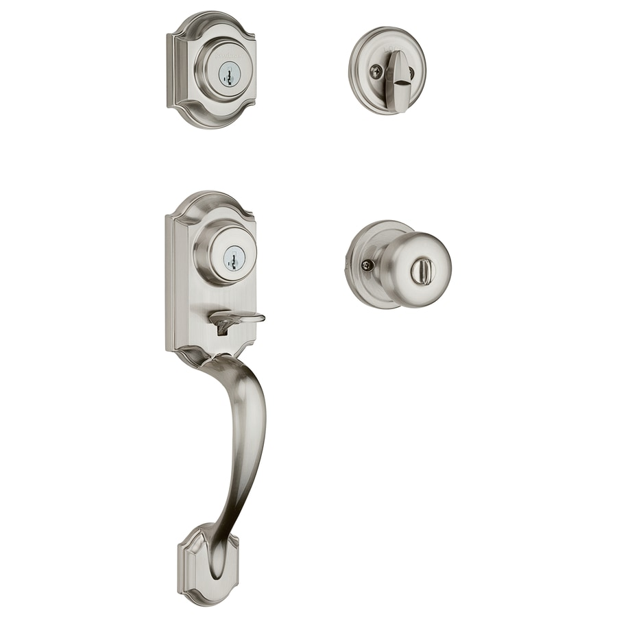 Attirant Kwikset Montara Satin Nickel Smartkey Single Cylinder Deadbolt Keyed Entry  Door Handleset