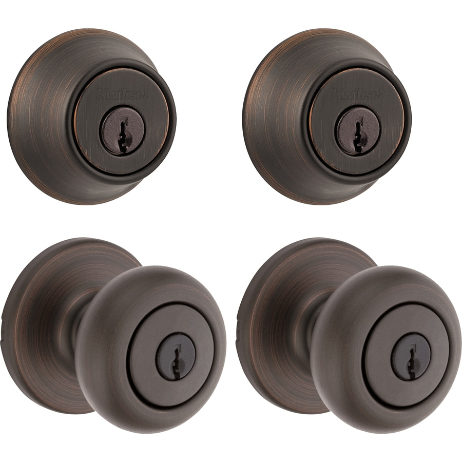 Shop kwikset kwikset cove venetian bronze keyed entry door for Exterior door knobs