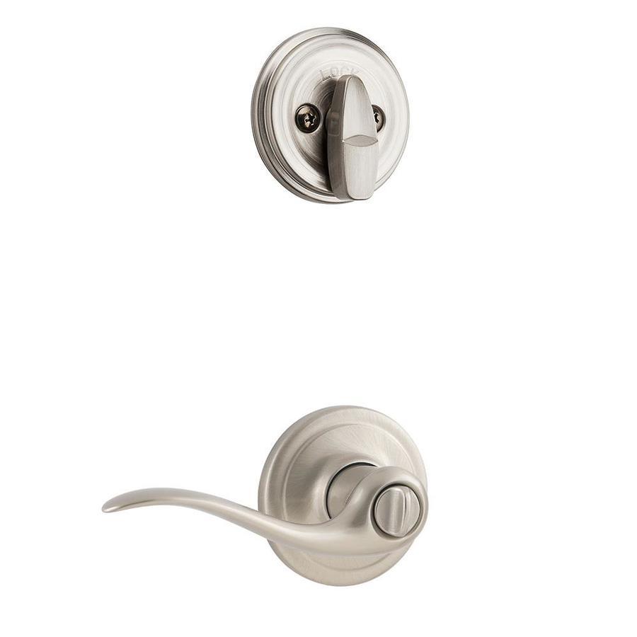 Kwikset Tustin 1-3/4-in Satin Nickel Single Cylinder Lever Entry Door Interior Handle