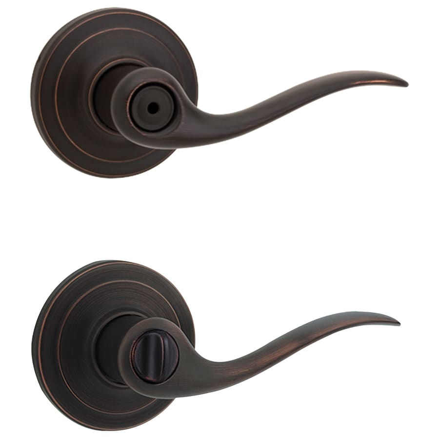Kwikset Tustin Venetian Bronze Universal Turn Lock Privacy Door Lever
