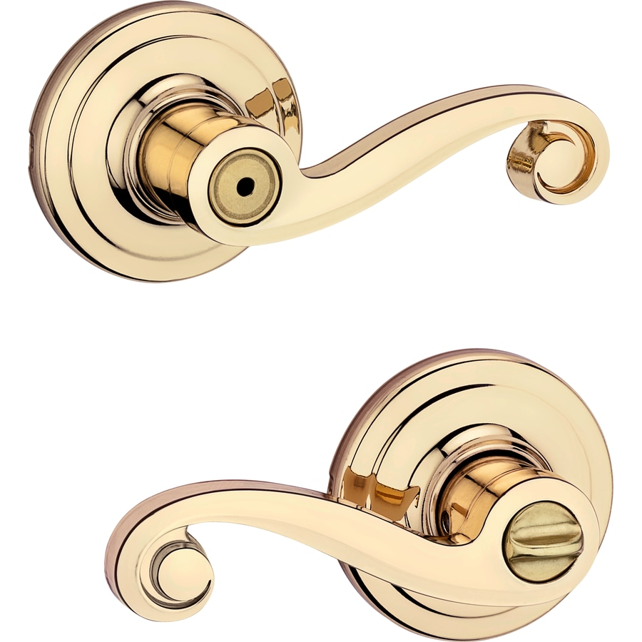 Shop Kwikset Lido Polished Brass Turn Lock Privacy Door
