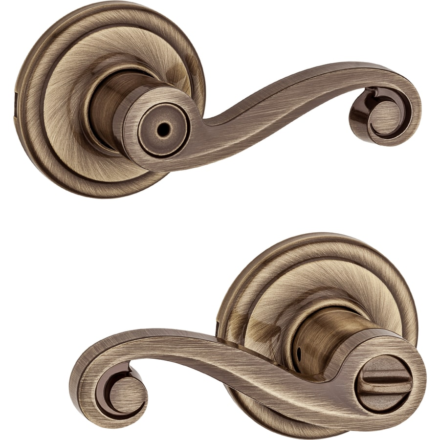 Kwikset Lido Antique Brass Universal Turn Lock Privacy Door Lever
