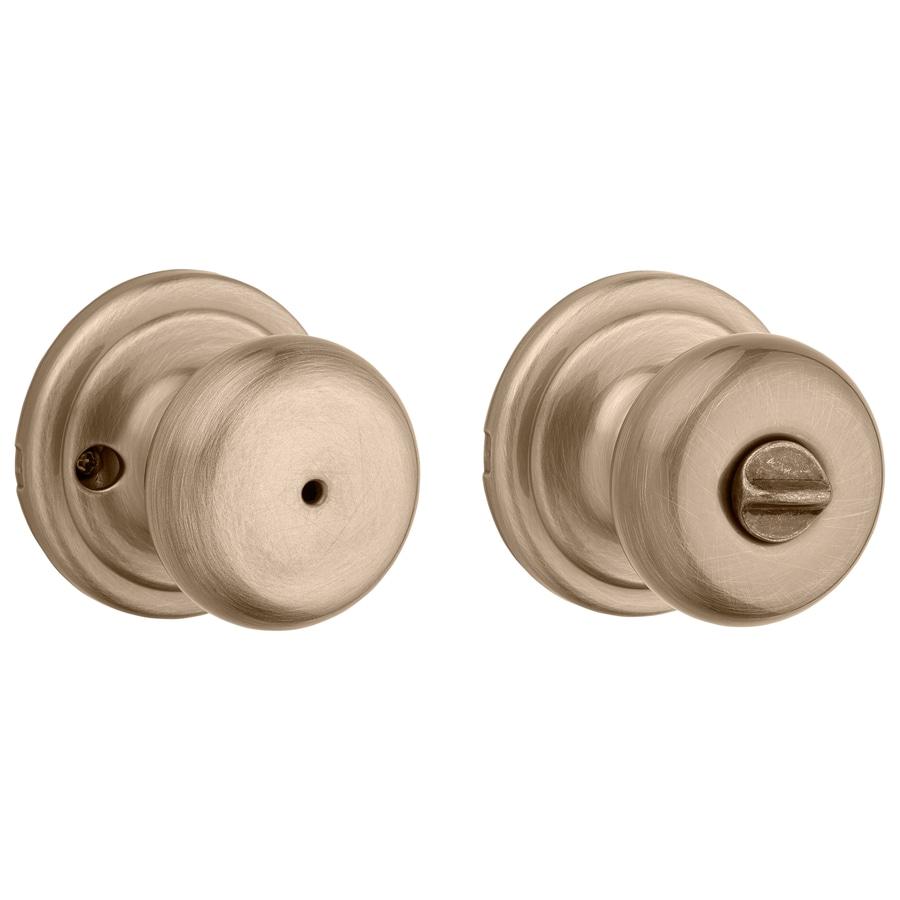 Kwikset Juno Antique Brass Round Turn Lock Privacy Door Knob