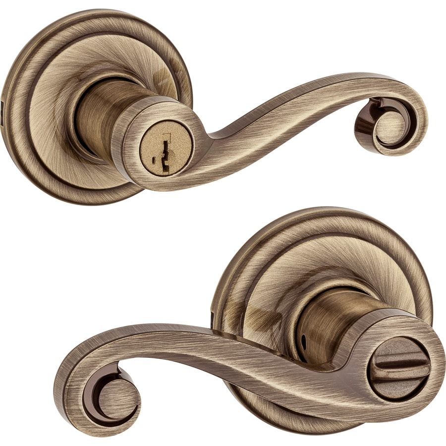 Kwikset Lido SmartKey Antique Brass Universal Keyed Entry Door Lever
