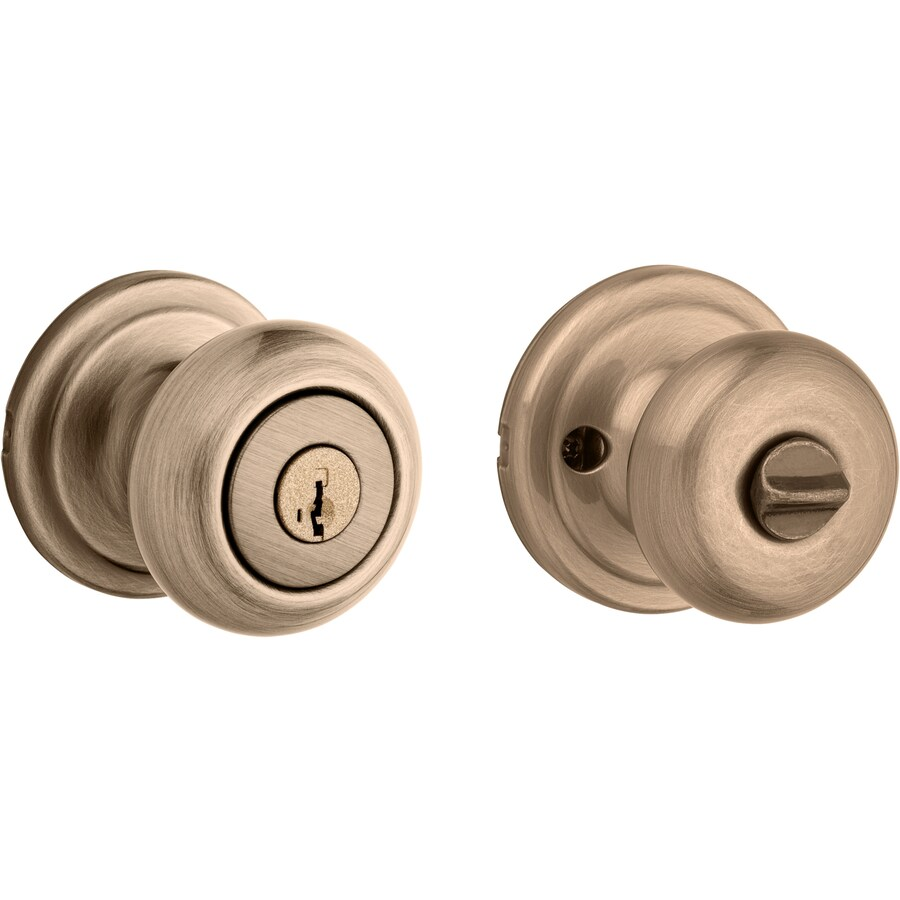 Kwikset Signature Juno Smartkey Antique Brass Round Keyed Entry Door Knob