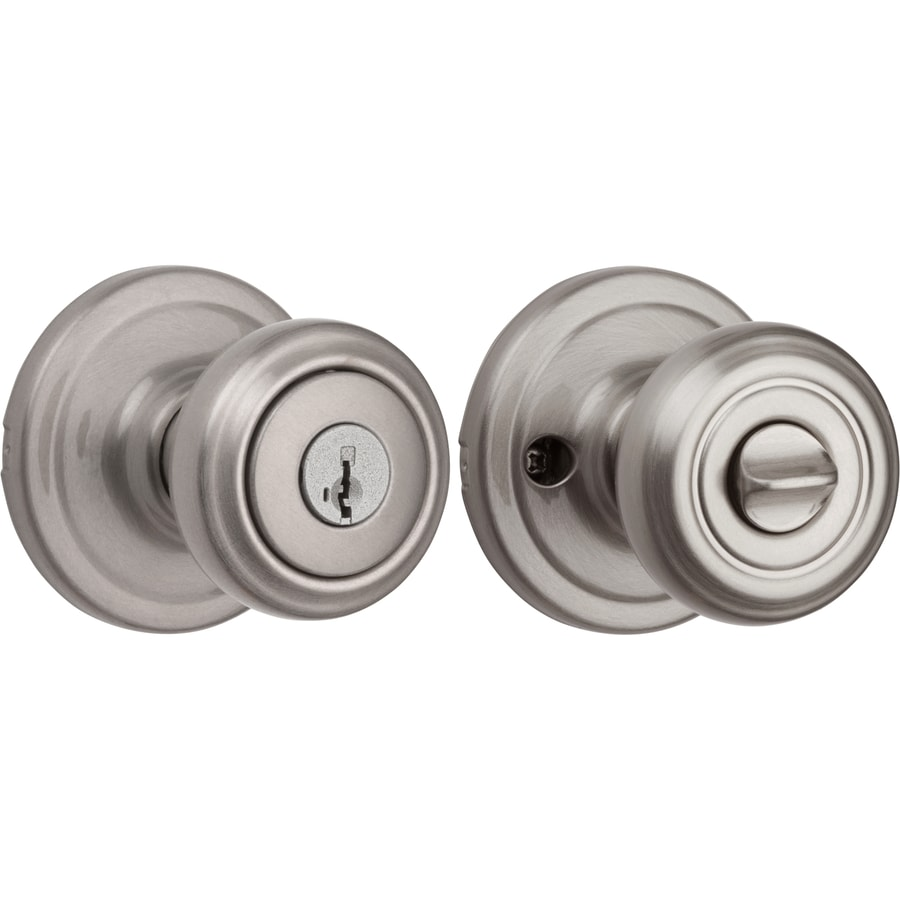 Kwikset Cameron Smartkey Satin Nickel Mushroom Keyed Entry Door Knob