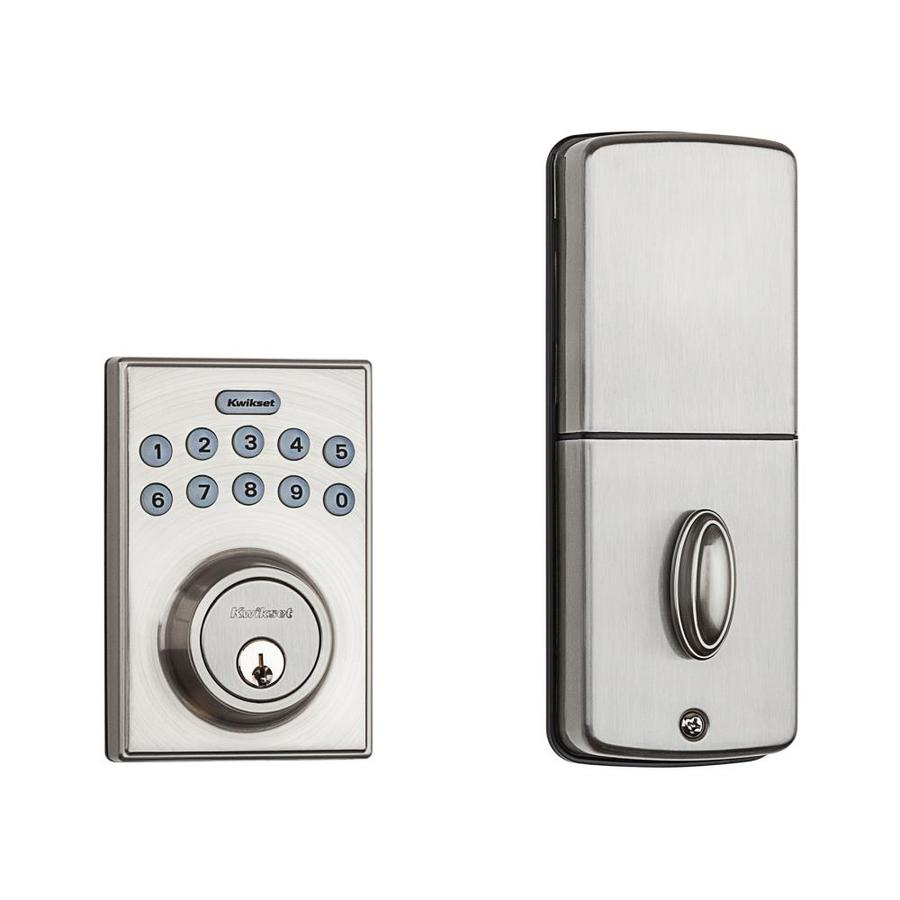 Kwikset SmartCode Satin Nickel Single-Cylinder Motorized Electronic Entry Door Deadbolt with Keypad
