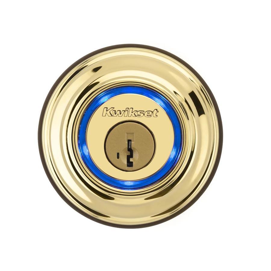 Kwikset Kevo Smartkey Lifetime Polished Brass 1-Cylinder Motorized Electronic Entry Door Deadbolt