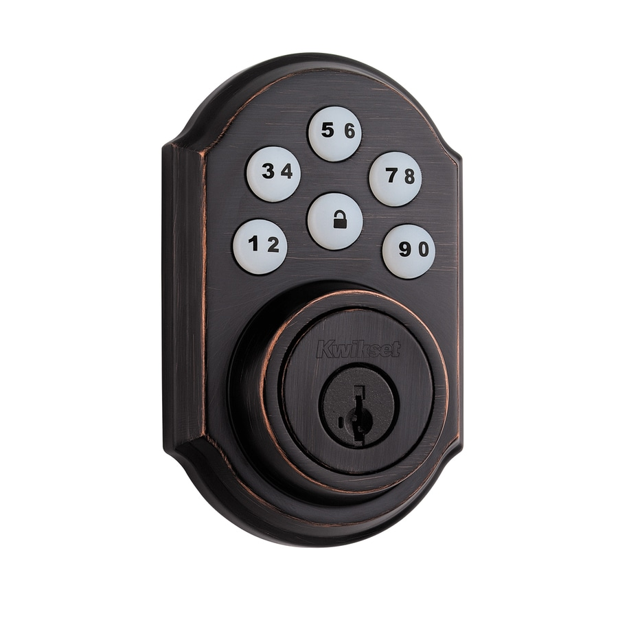 Kwikset SmartCode SmartKey Venetian Bronze Single-Cylinder Motorized Electronic Entry Door Deadbolt with Keypad
