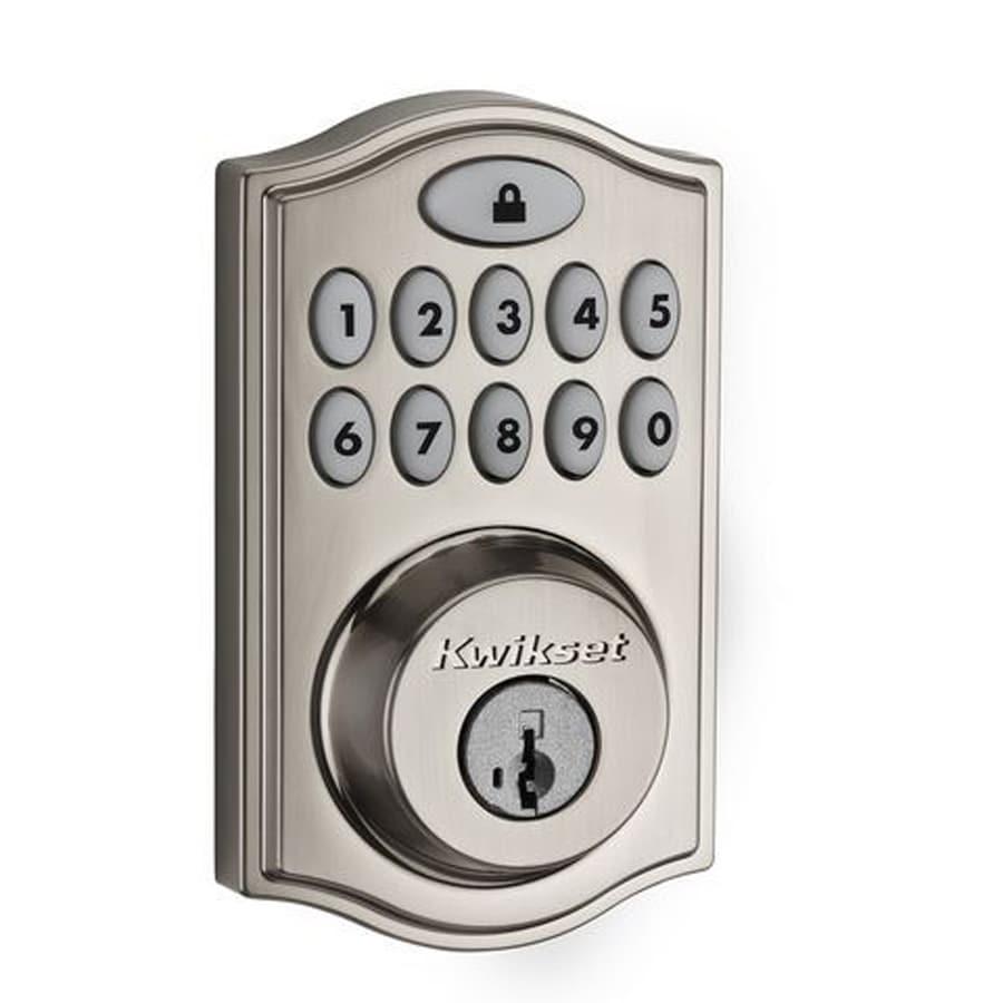 Kwikset SmartCode 914 Smartkey Satin Nickel Single-Cylinder Motorized Electronic Entry Door Deadbolt with Keypad Featuring Z-Wave