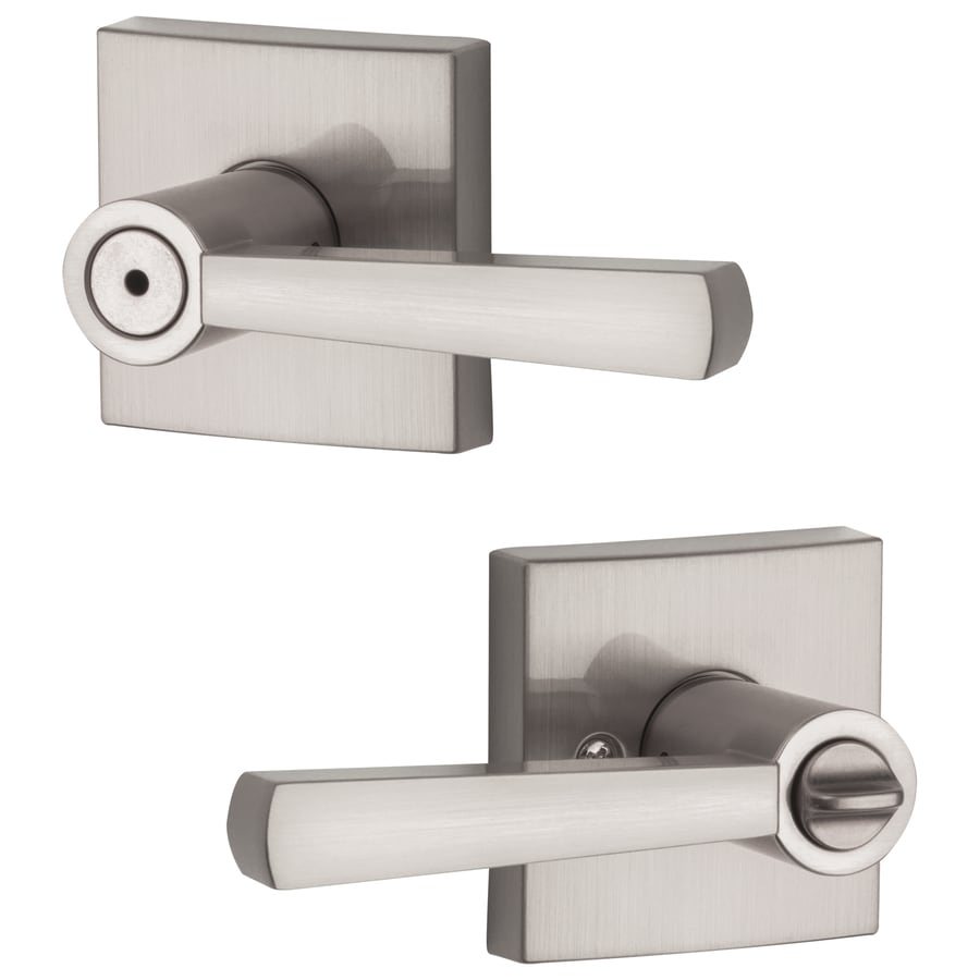 BALDWIN Spyglass Satin Nickel Turn Lock Privacy Door Lever