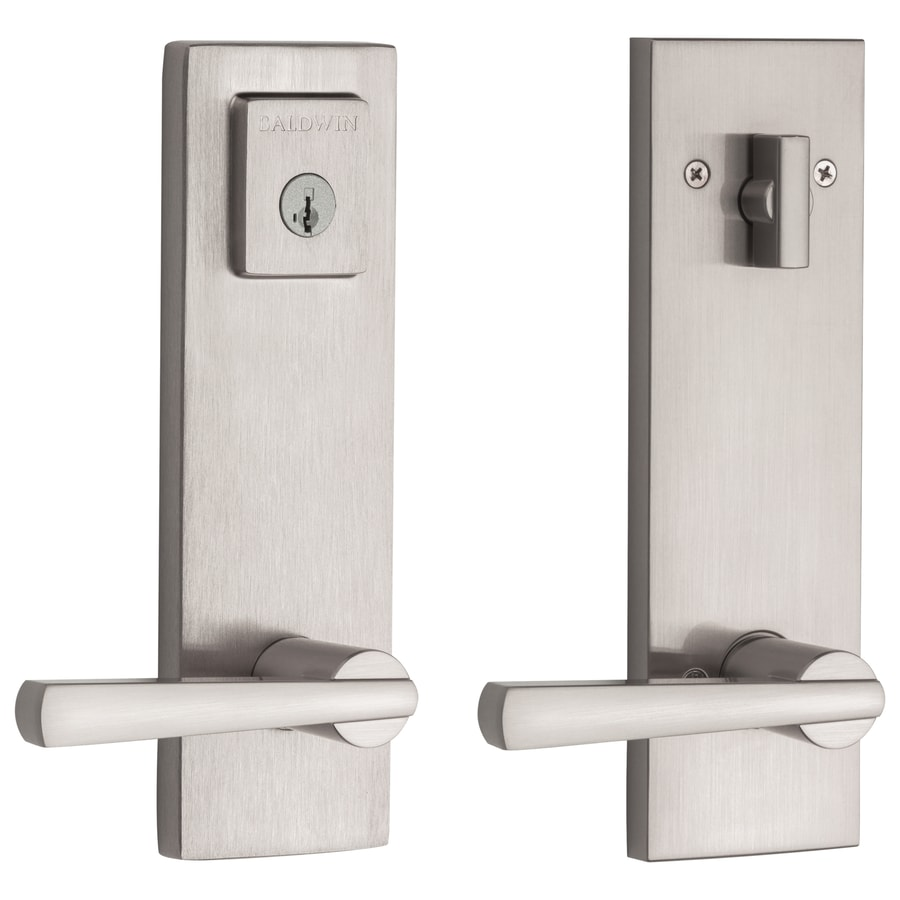 BALDWIN Spyglass Satin Nickel Smartkey Single Cylinder Deadbolt Keyed Entry  Door Handleset