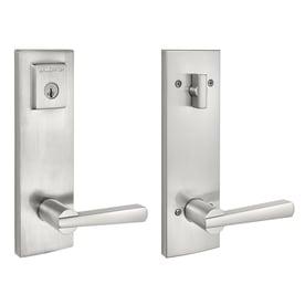 BALDWIN Spyglass Satin Nickel Smartkey Single Cylinder Deadbolt Keyed Entry Door  Handleset