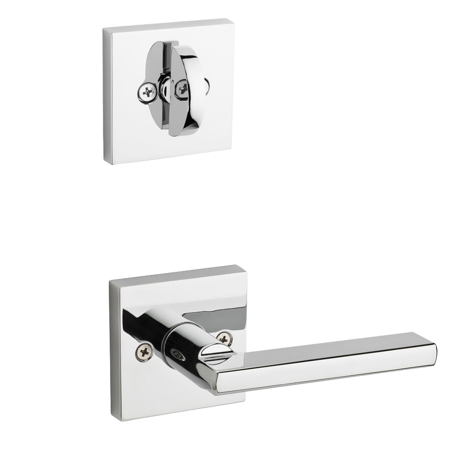 Kwikset Halifax x Square Rose 1-3/4-in Polished Chrome Single Cylinder Lever Entry Door Interior Handle
