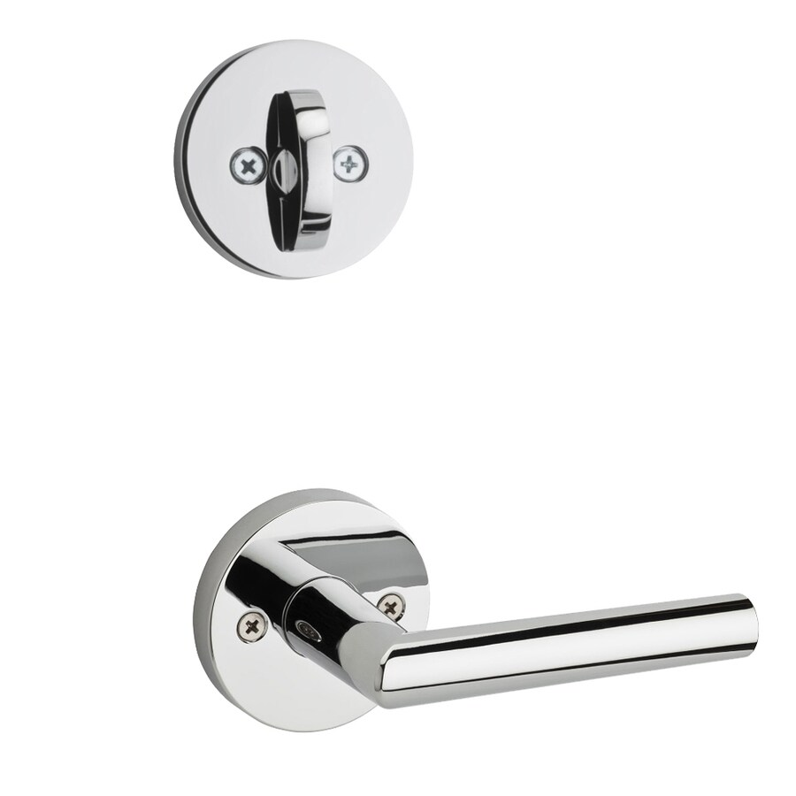 Kwikset Milan x Round Rose 1-3/4-in Polished Chrome Single Cylinder Lever Entry Door Interior Handle