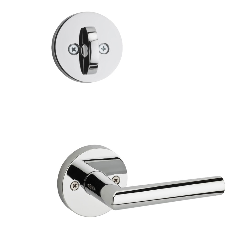 Kwikset Milan x Round Rose 1-3/4-in Polished Chrome Traditional Single Cylinder Lever Entry Door Interior Handle
