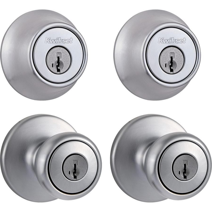 Shop Kwikset Tylo Smartkey Satin Chrome Tulip Keyed Entry Door Knob ...