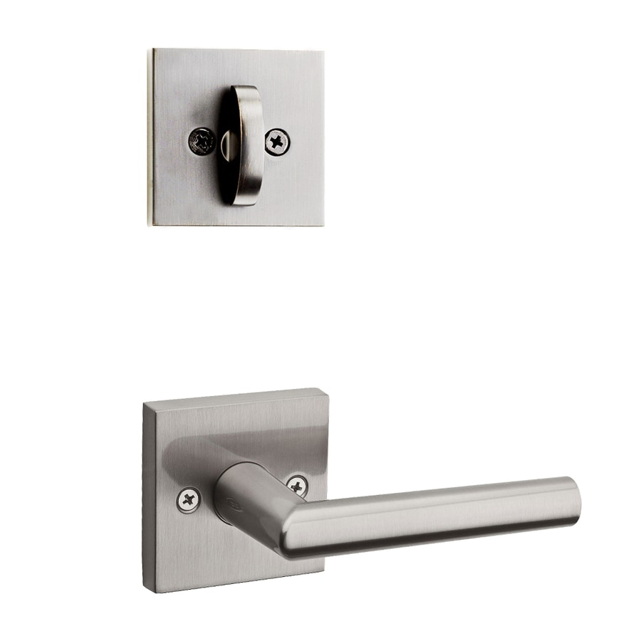 Kwikset Milan x Square Rose 1-3/4-in Satin Nickel Traditional Single Cylinder Lever Entry Door Interior Handle